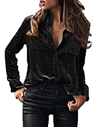 VJGOAL Damen Bluse, Damen Mode Solid Velvet Umlegekragen Langarm-T-Shirt  Tops Frühling 95569aa6c4