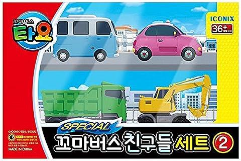 Tayo The Little Bus Tayo Friends Special 4Pcs Mini Car Set II : Coréenne Made TV animation Toy (Max + Poco + Heart + BongBong)