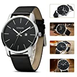 SONGDU Mens Elegant Big Face Quartz Watch Wristwatch With Date Display Black Leather Strap Alloy Watch Case and Black Dial DM-9207-P01EY——Ideal and Celebrative Gift for Christmas and New Year Sales