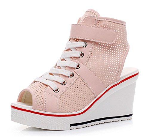 Wealsex Basket Compensées Femme Mesh PU Cuir Montante Scratch Lacet Bout Ouvert Chaussure Plateforme Grande Taille 40 41 42 43 Rose