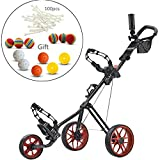 CaddyTek SuperLite Deluxe Golf Push Cart-Red with practise balls and 100PCS Tees kits