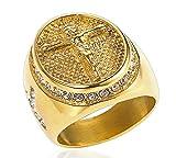 Sumouzh Jahrgang Retro Religiös Christian Jesus Kreuz Gebet Weiß Juwel Diamant Rostfreier Stahl Ringe Für Männer