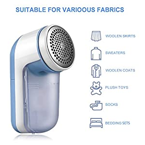 SUNMAY Fabric Shaver, Lint Remover with Distance Ring, Bobble Remover Battery Operated with Travel Carrying Pouch