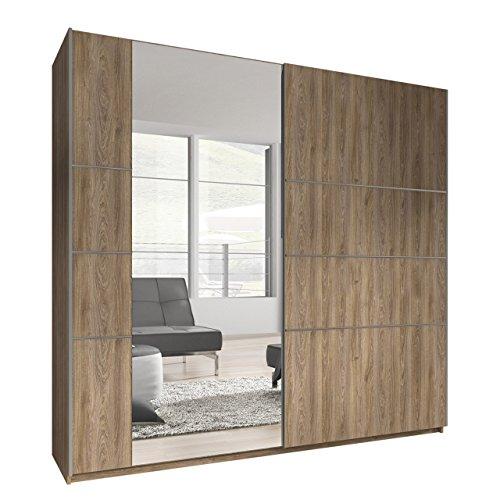 OUTLET !! Kleiderschrank Bora VI, Elegantes Schlafzimmerschrank, Schwebetürenschrank für Schlafzimmer, Jugendzimmer, Schiebetür (220 cm, Madeira /...