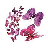 FORH 12 PCS 3D Schmetterlinge Wanddeko Aufkleber Abziehbilder Wand Aufkleber Hauptdekorationen Wandtattoo Schmetterlings Regenbogen Wand-dekor Kinder Baby Schlafzimmer Deko (Lila)