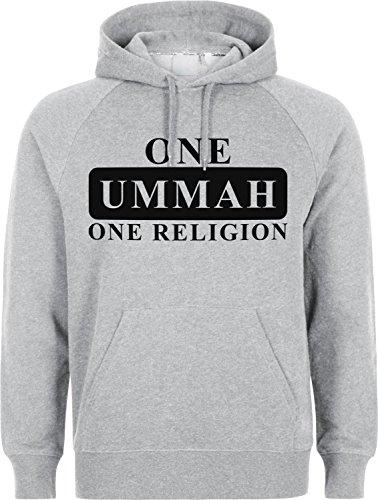 One Ummah One Religion - ISLAM HOODIE SLAMISCHE STREETWEAR KAPUZENPULLI KAPUZENPULLOVER KLEIDUNG FÜR MUSLIME BEDRUCK OUTDOOR ISLAM FASHION (S, Grau)