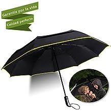 HooYL paraguas automático y plegable,resistencia contra el viento,medidas compactas para viaje,con botón de apertura automático,alta calidad en su tela con Dupont Teflon 190T (negro)