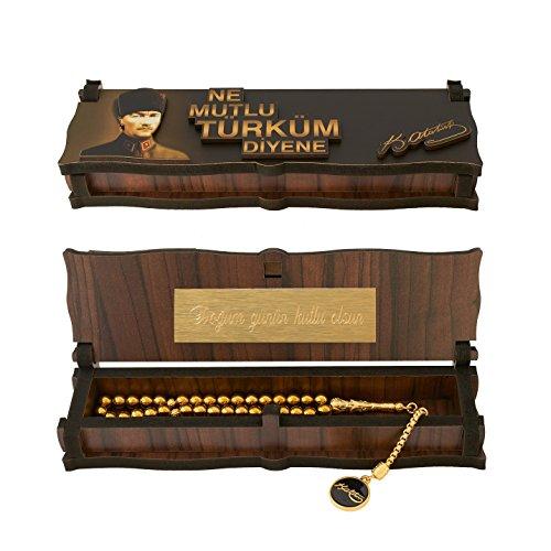 Gök-Türk Box Schatulle MIT Gravur aus Holz Handgemacht & Tesbih Gebetskette \'Mustafa Kemal Atatürk\' 33 Perlen, ColorName:mit Gravur
