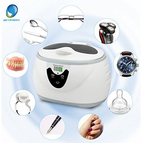Ultraschallreinigungsgerät SKYMEN 600ML Ultraschallreiniger 35W Ultraschallgerät für Brille Schmuck Uhren Prothese Ringe Halskette Münzen Rasierapparat, Degas-Funktion Und Effiziente Reinigung