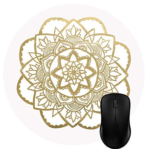 Muccum Rundes Mauspad, personalisiertes Design, abstraktes Metallic-Gold, Rose Mandala Kunst -