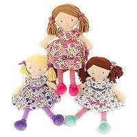 Hoolaroo Personalised Embroidered Girls Rag Doll Pink 40cm Purple