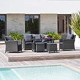 DCB Garden Set Mahlzeit mit Tisch/Sofa/2Sessel/2Hocker grau 184x 77x 89cm festy-s2