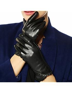 DIDIDD Guantes negros de cuero sin manos con súper suave dedos clásicos, medio dedo negro,Negro,Medio