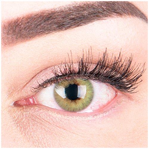 """Sehr stark deckende und natürliche grüne Kontaktlinsen SILIKON COMFORT NEUHEIT farbig \""""Rose Green\"""" + Behälter von GLAMLENS - 1 Paar (2 Stück) - DIA 14.00 - mit Stärke -2.50 Dioptrien"""