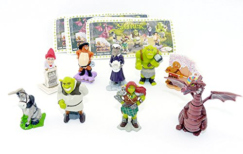 Kinder Überraschung Shrek 4 Figuren Set, Alle 9 Figuren aus dem Shrek Film als Original Charaktere