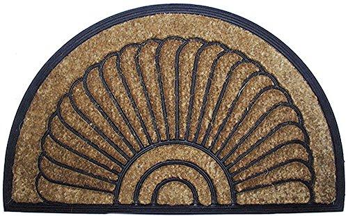 Zerbino COCORUBBER 60 x 100 cm realizzato in naturale fibbra di cocco con bordo in gomma. Disegno mitilo. Semicircolare. - Disegno Di Gomma Zerbino