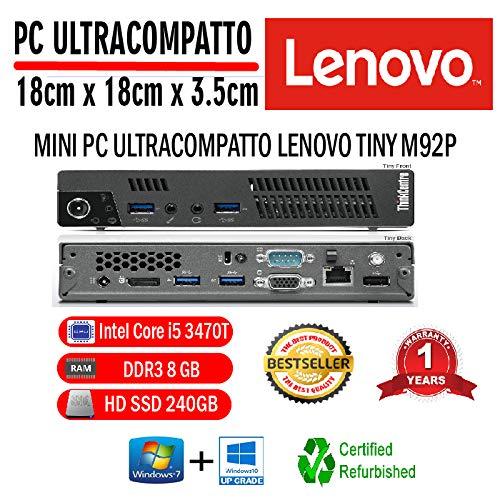 PC Reacondicionado LENOVO M92P Tiny Intel Core I5 3470T 2,90 GHZ/8GB/240GB SSD/Win 10 Pro (Reconditioned)