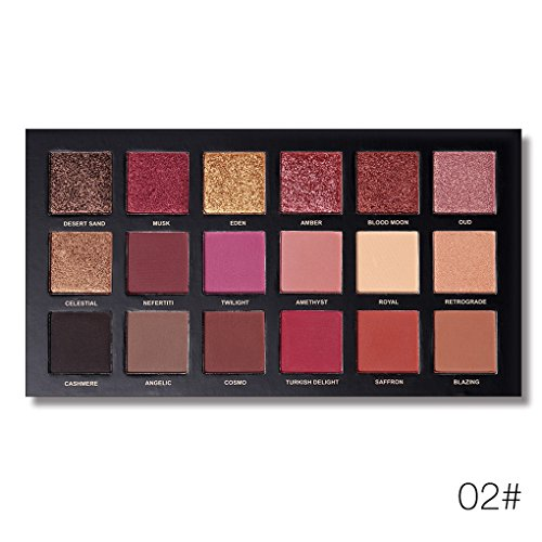 Providethebest UCANBE 18 Farben Long Lasting Eye Tint Shimmer Glitter-Puder-Palette Kit Eye Shades Taint Makeup Schatten Set 02# -