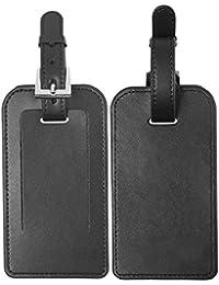 Etiquetas de identificación para equipaje de cuero de microfibra, negro