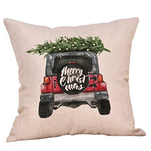 Myfilma Frohe Weihnachten Kissenbezüge Baumwolle Leinen Sofakissenbezug Home Decor Weihnachten Print bunten Sitzkissenbezug