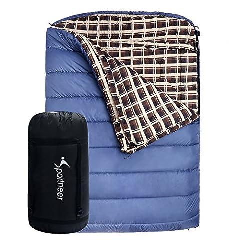 [Sac de couchage] Sportneer 239 x 158cm, -18 ° C / 0 ° F Double Sac de Couchage avec Sac de Transport, Bleu Foncé , pour 2 Personnes