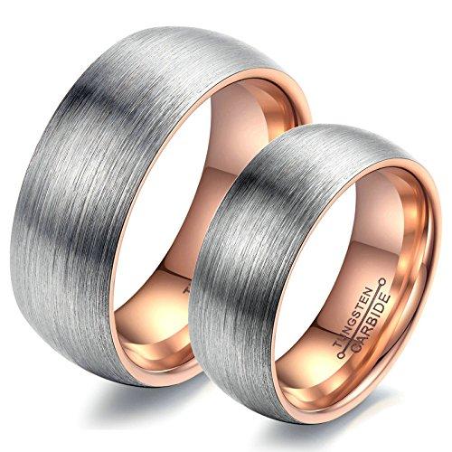 Adisaer Verlobungsring Edelstahl Partnerringe Rosegold Grau Ring Zeichnungsprozess Herrenring Größe 67 (21.3) Damenring Größe 52 (16.6) Hochzeit (Kissen Hochzeit Ring Grau)