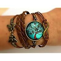 Wickel-Armband Leder-Band mehrreihig mit Glas-Cabochon-Anhänger Zauberbaum 25mm und Anhänger Infinity + Schmetterlinge bronze Handmade