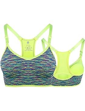 Junlinto Ladies Mujeres Acolchada Sling Sujetador Deportivo Chaleco Superior Gym Fitness Yoga Correr Jogging Fluorescente...