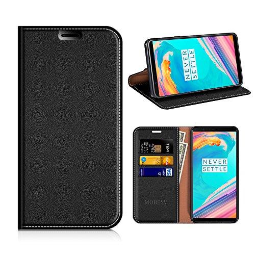 MOBESV OnePlus 5T Hülle Leder, OnePlus 5T Tasche Lederhülle/Wallet Case/Ledertasche Handyhülle/Schutzhülle mit Kartenfach für OnePlus 5T - Schwarz