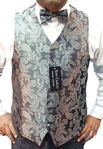 Medium Grey Satin (Herren-Qualität Paisley-Weste und Fliege-Set in 5 verschiedenen Farben(paisley waistcoats) (Medium 40