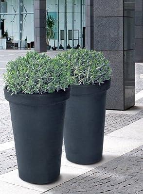 XXL Flower Tower in Anthrazit - Pflanztopf mit 79 cm Höhe, 48 cm Durchmesser und 58 Liter Volumen für Innen- und Außenbereiche, inkl. halbhohem Einsatz für sauberes Bepflanzen und einfaches Umtopfen