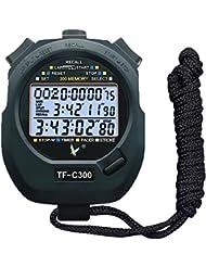 CALESI Three-Row Cronometro 300 Memorie Lap Professionale Portatile LCD Digitale Sport Metronomo Fre (300 Paragrafi)