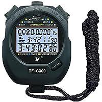 CALESI Cronómetro de Tres Filas de 300 memorias Lap Digital Profesional de Mano LCD Deportes