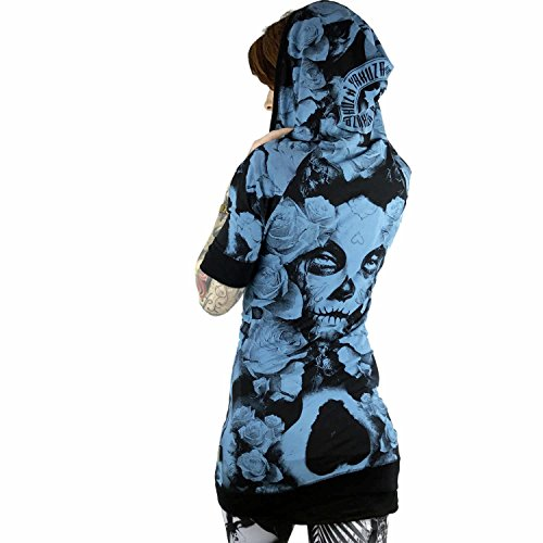 Yakuza Original Damen Mexican Rose Hooded Shirt pagoda blue