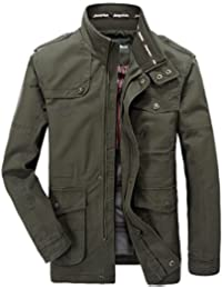 WS668 Hommes Casual Classic Cotton Col Men Coats Zip Rétro Fashion Military Veste Light Manteau Patch Jacket