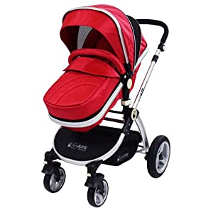 iSafe 2 in 1 Baby Pram System Complete (Red)   6