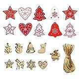 QULiTAN 60 Stücke Holz Anhänger Weihnachten Hängende Ornamente Für DIY Crafting Decor Weihnachtsbaum Dekorationen