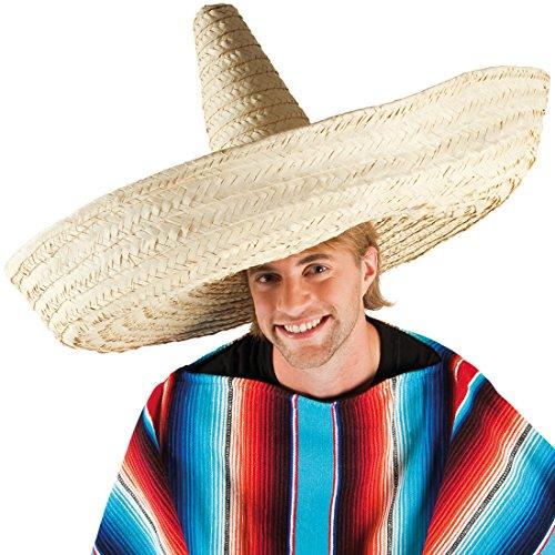 NET TOYS Mexikanischer Riesen Sombrero Mexikaner Hut 100 cm Mexiko Strohhut Mexikanerhut