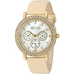 So & Co New York Madison Women's Quartz Watch with Mother of Pearl Dial Analogue Display and Beige Leather Strap 5216L.4