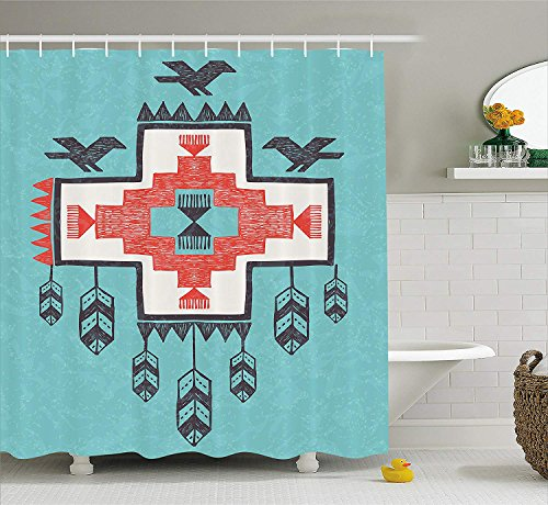 JIEKEIO Native American Decor Shower Curtain, Ethnic Tribal Aztec Hand Drawn Dreamcathcher Folkloric Icons Birds Image, Fabric Bathroom Decor Set with Hooks, 60 * 72inch Extra Long, Multi Hand-seersucker