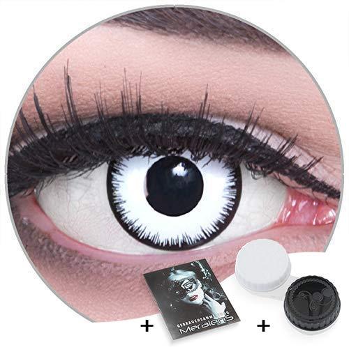 Funnylens Lunatic 'Vampir' Farbige weiße Fun Kontaktlinsen ohne Stärke perfekt zu Fasching, Karneval und Helloween 1 Paar