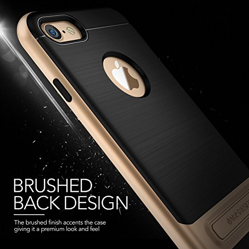iPhone 7 Hülle, VRS Design® Schutzhülle [Schwarz] Schlagfesten Stoßstangen TPU Bumper Case Kratzfeste Schlanke Handyhülle mit Klappständer [High Pro Shield] für Apple iPhone 7 2016 Schwarz
