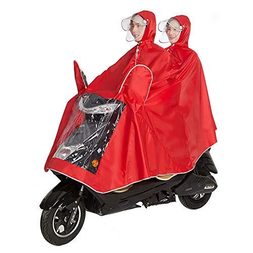 OLDJTK Fahrradjacke Unisex Tandem Fahrrad, Ebike, Motorrad, Roller Poncho Regenmantel Schal (Farbe : Rot, größe : XXXL)
