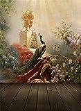 Aaloolaa fotografia sfondo photo Backdrop wedding vintage scultura elegante pavone fiori pavimenti in legno Baby Lover Girl Children Kid ritratto scene puntelli per riprese video studio 0,9x 1,5m vinile - Aaloolaa - amazon.it