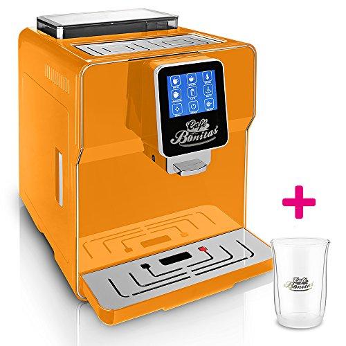 ONE-TOUCH-Kaffeevollautomat-1-Thermoglas-Gratis-CAFE-BONITAS-Newstar-2016-Orange-Touchscreen-Timer-19-Bar-Kaffeeautomat-Latte-Macchiato-Kaffee-Espresso-Cappuccino-heies-Wasser-Milchschaum