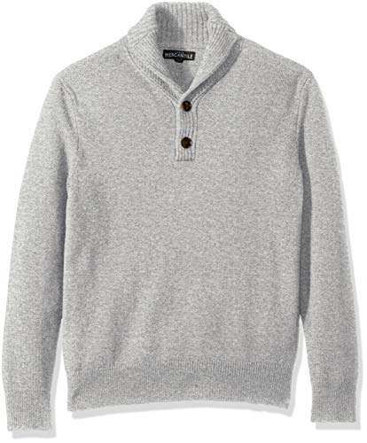 Baumwolle V-neck Lightweight Sweater (J.Crew Mercantile Herren Lambswool-Nylon Shawl Collar Sweater Pullover, grau meliert, Mittel)