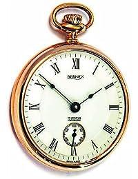 Bernex Swiss Made Mechanical Rose Gold Plate Open Face Pocket Watch
