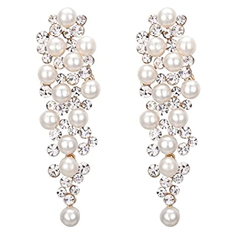 Clearine Women's Wedding Bridal Crystal Ivory Color Simulated Pearl Multi