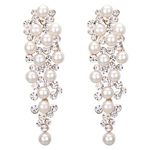 Clearine Damen Ohrringe Hochzeit Braut Kristall Ivory farbe Künstliche Perlen Viel Beaded Cluster Chandelier Dangle Ohrringe Ohrschmuck Klar Gold-Ton
