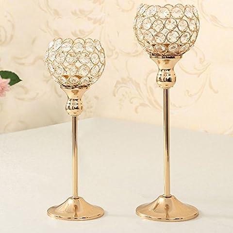VINCIGANT Kristall Kerzenhalter Teelichthalter Kerzenständer Tischdekoration 2er set Leuchter Mittelstücke Gold